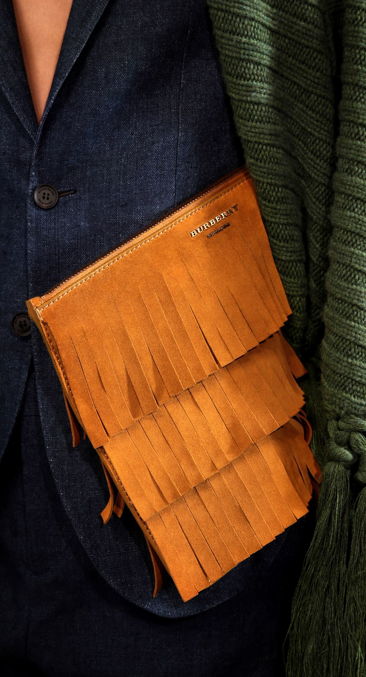 Fringe Detail Suede Document Case: One of my favourite runway accessories from the Prorsum Menswear A/W15 show