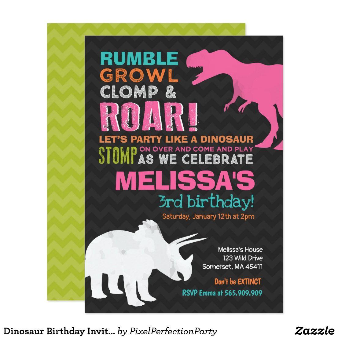 Dinosaur Birthday Invitation Girl Dinosaur Party | Invitations ...