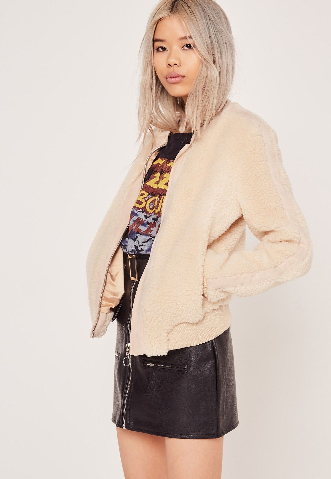 sells great discount various styles Missguided - Faux Shearling Bomber Jacket Cream   Get In My ...