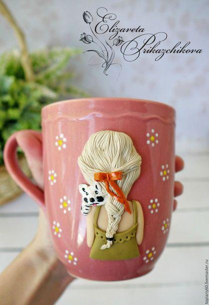 1d5a18f4110 Купить или заказать Кружка с декором из полимерной глины  Девочка с  собачкой . в