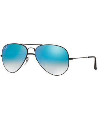 ray ban aviators black frame blue lens