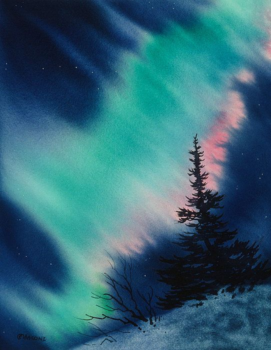Light In The Dark Of Night Watercolor By Teresa Ascone Watercolor Paintings Winter Painting Art