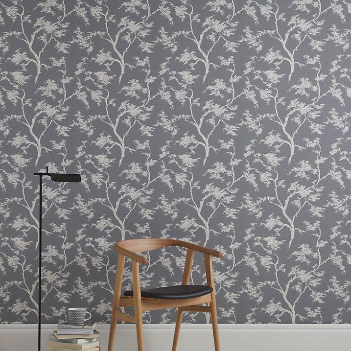 Buy John Lewis Japanese Tree Wallpaper, Graphite Online At Johnlewis.com