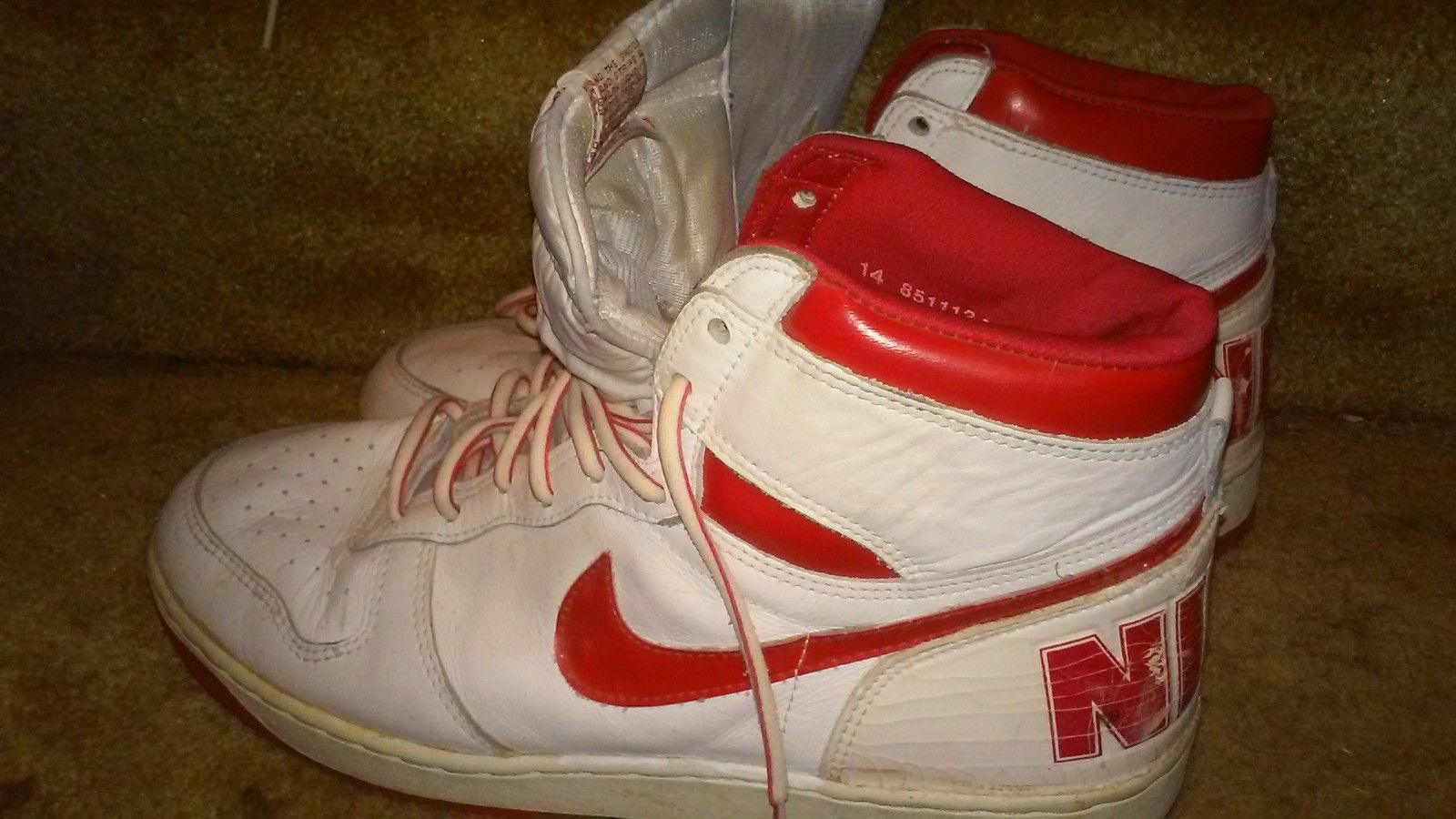 online store 860b7 74d5f Vintage Nike Air 1985 Big Nikes High Top Basketball Hoop Mens Size 14  Shoes  eBay