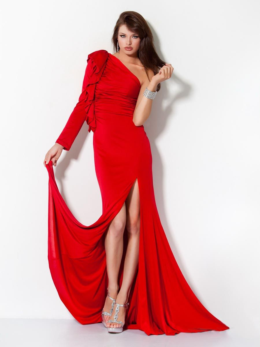 Amazing red one shoulder dresses uc freshman formal dress