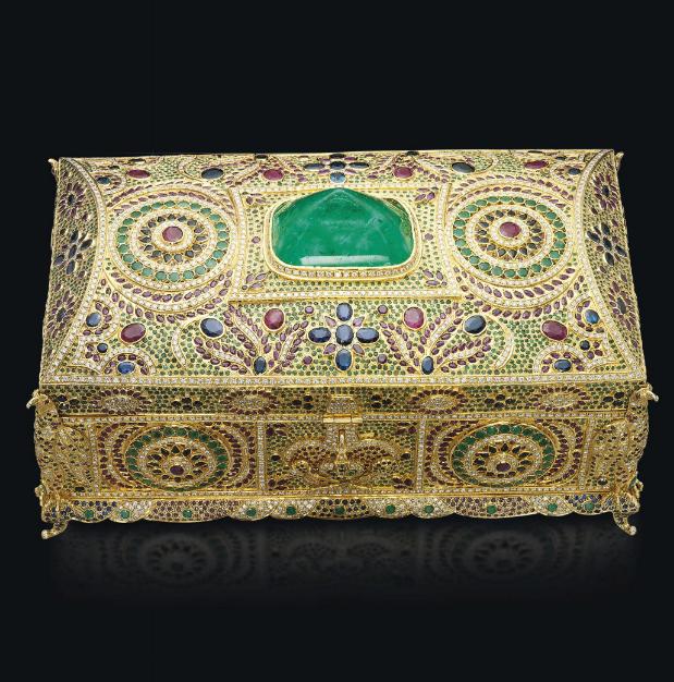 Emerald, ruby, sapphire, diamond and gold box.
