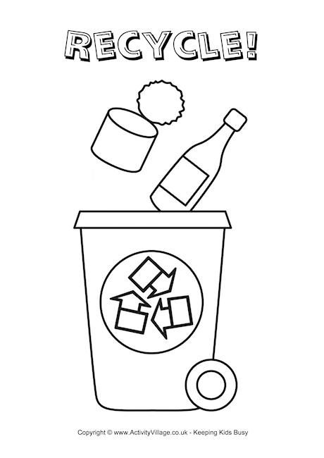 Recycle Bin Colouring Page Educazione Ambientale Ambientalismo