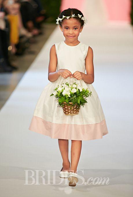 Oscar de la renta spring 2015 flower girl dresses girls dresses sleeveless silk shantung flower girl dress with pink hem oscar mightylinksfo