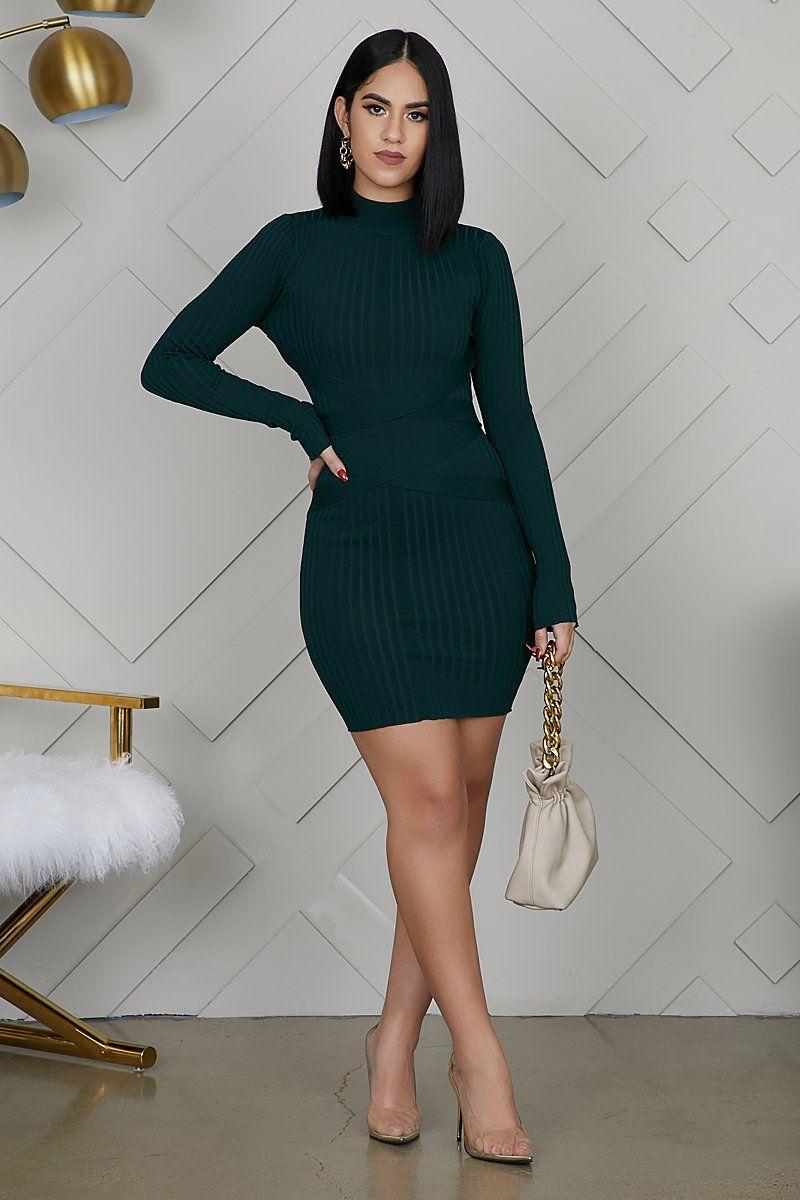 Mini Bandage Ribbed Dress Dark Green Green Dress Outfit Pretty Dresses Casual Ribbed Dresses [ 1200 x 800 Pixel ]