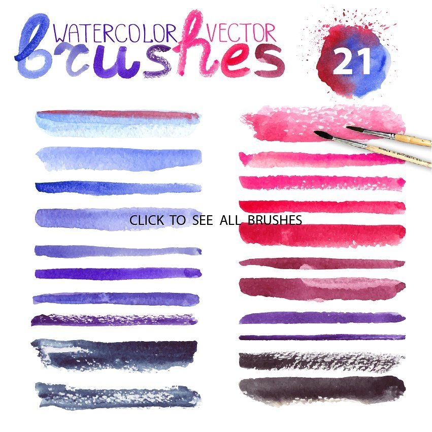 Watercolor Vector Brushes Mini Set Ai Eps Files Violet Vector