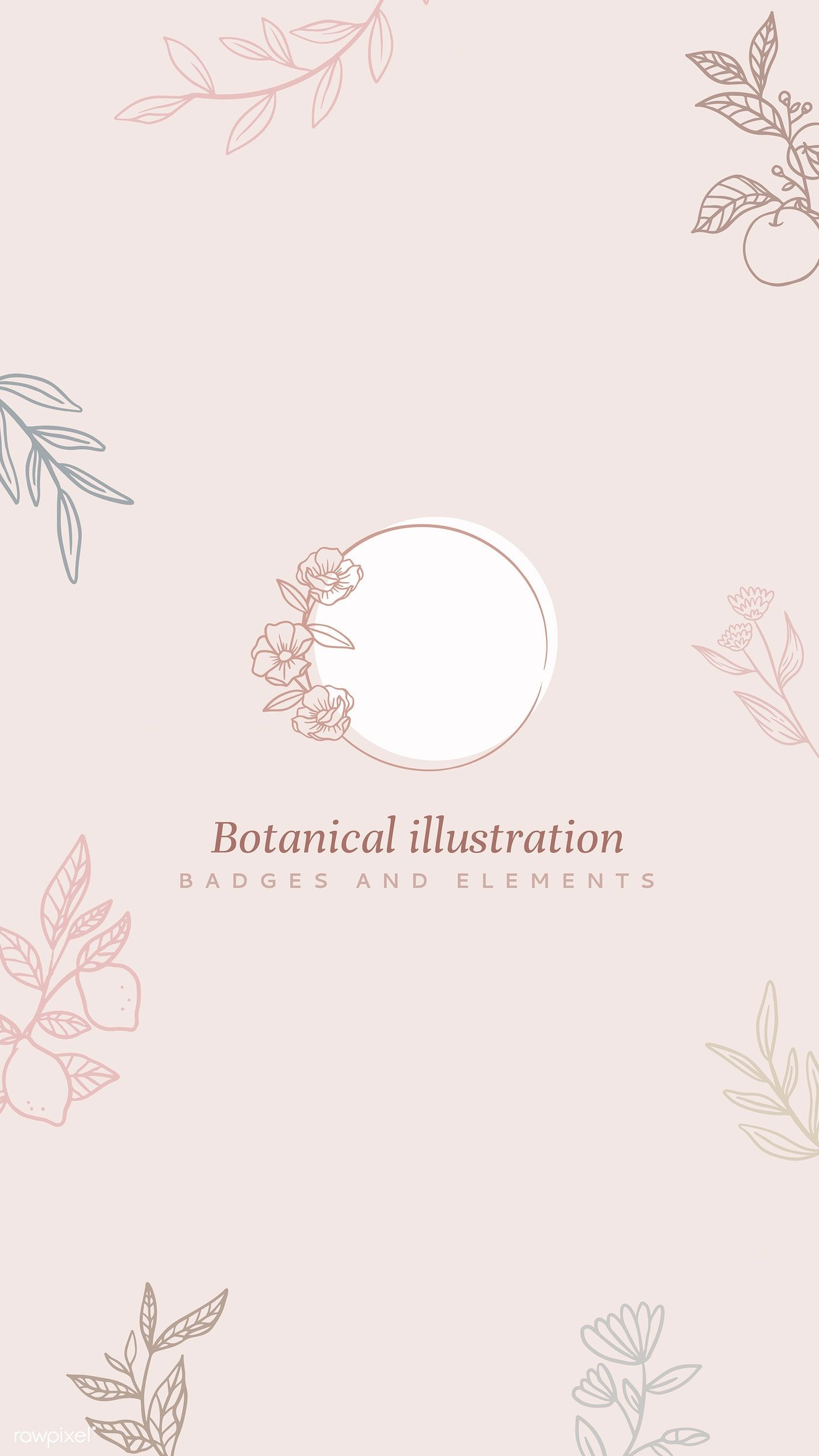 Download premium vector of Round botanical badge on beige