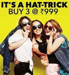 Jabong Hat-trick Sale Offer : Buy 3 At Rs.999 Only during Hat-trick Sale - Best Online Offer