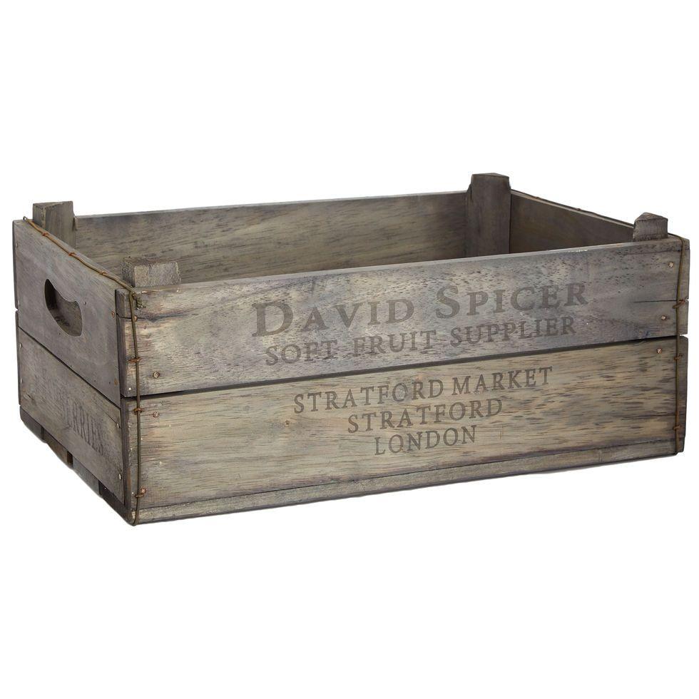 Grey Wooden Market Fruit Box Storage Home Accessories Home