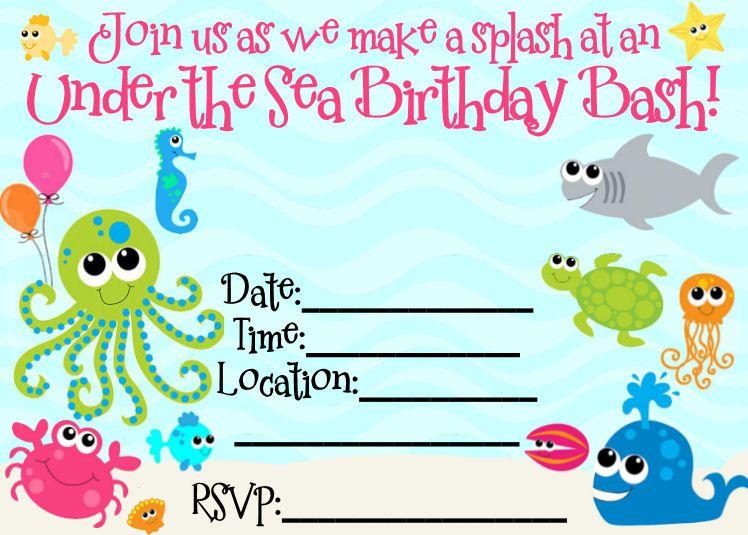 Under the sea birthday party invitations free printable selol ink under the sea birthday party invitations free printable filmwisefo