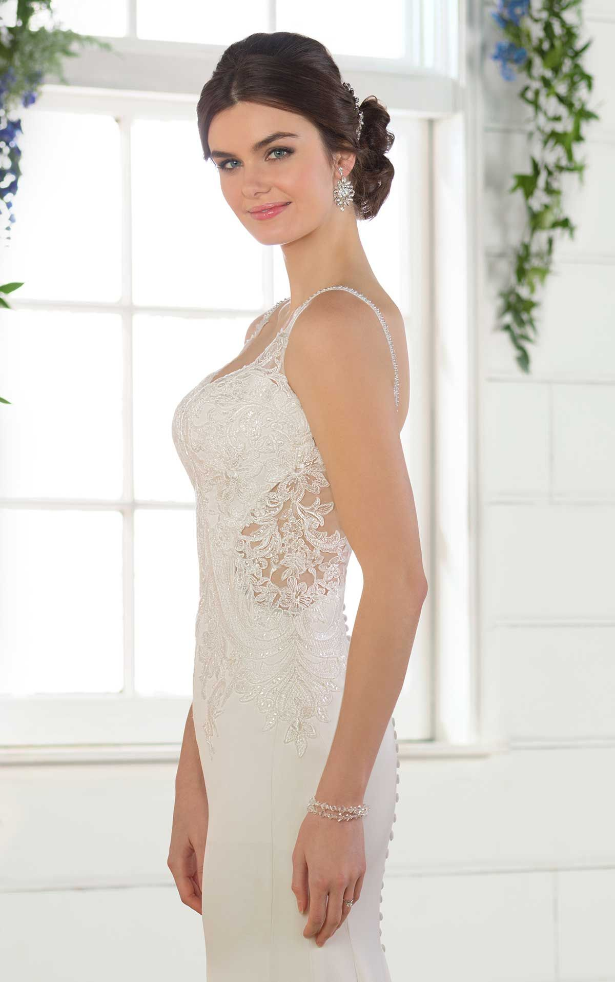 Essense Of Australia D2533 This Simple Crepe Wedding Dress With Cutouts From Is Perfectly Relaxed Its Sheath Silhouette And
