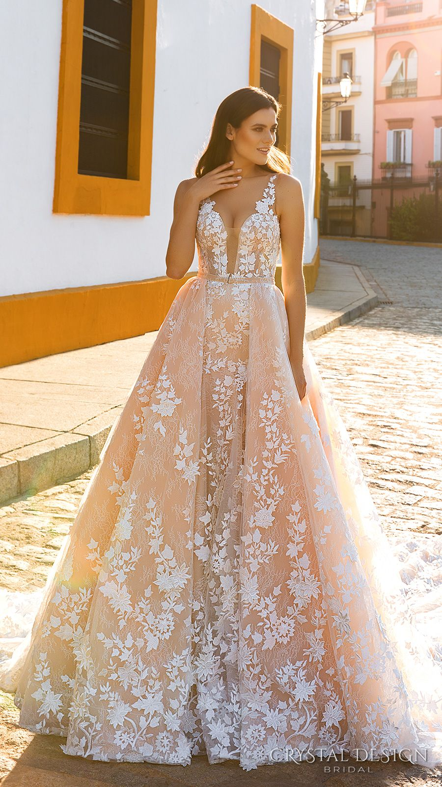 feb8cec017a5f Crystal Design 2017 bridal sleeveless strap deep plunging sweetheart  neckline full embellishment blush color romantic a line wedding dress sheer  back royal ...
