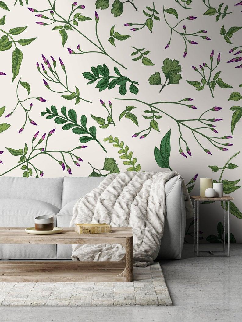 Removable Wallpaper Green Plants Wallpaper Self Adhesive Etsy Classic Wallpaper Removable Wallpaper Plant Wallpaper