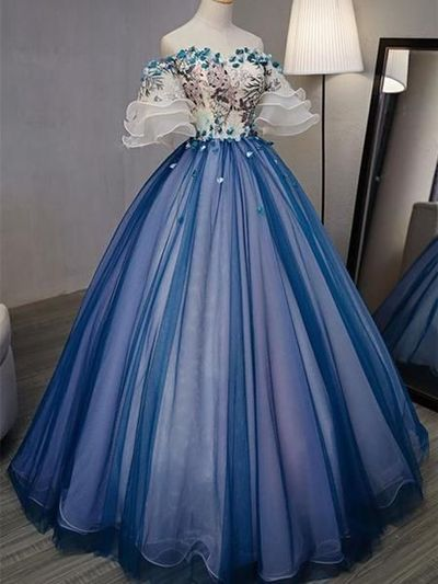 A-line Princess Straight Neck Half Sleeve Prom Dresses, Floor Length Dresses from OKProm