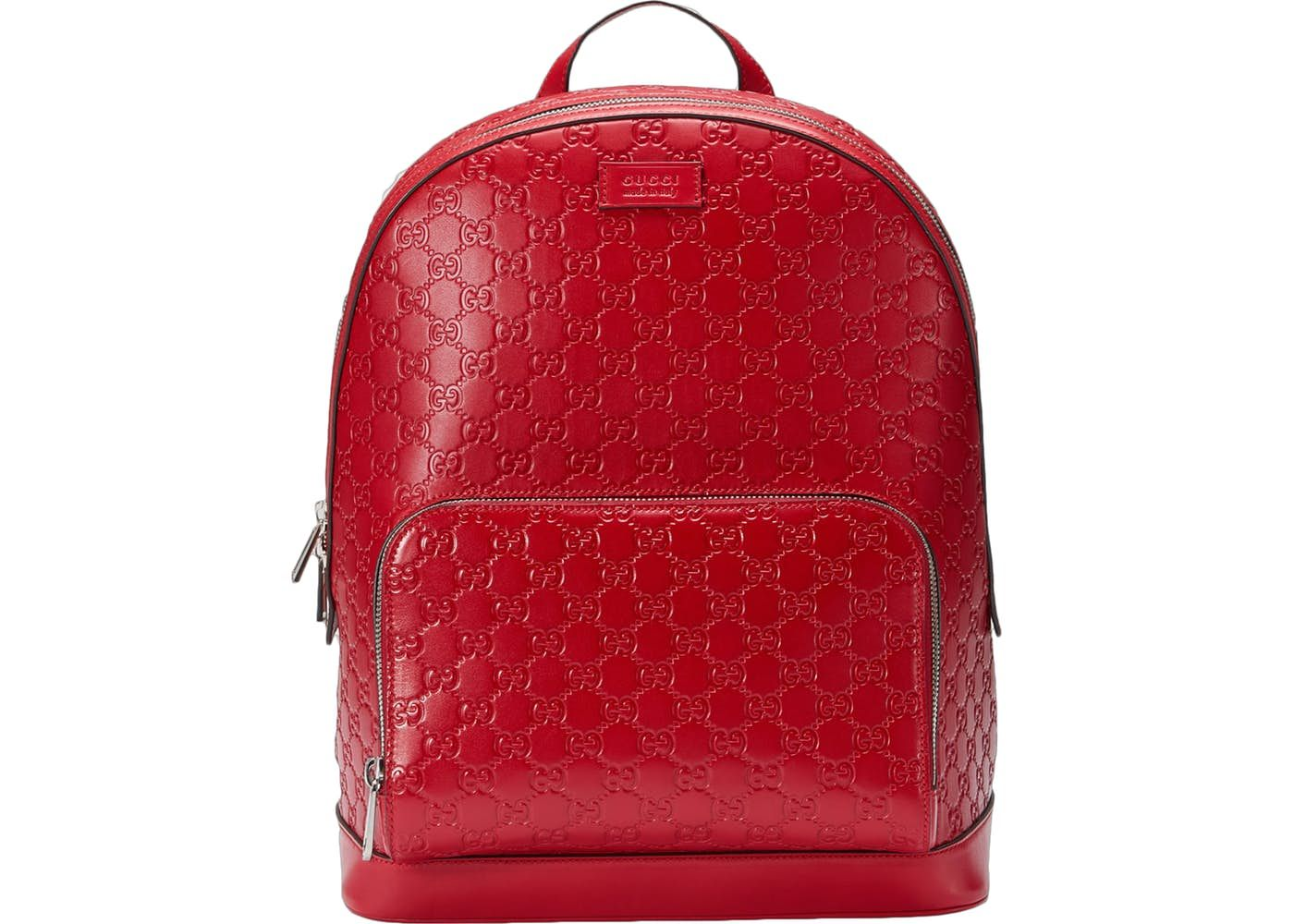 d6dfc0422 Gucci Signature Backpack Monogram GG Front Zipper Pocket/Embossed Hibiscus  Red