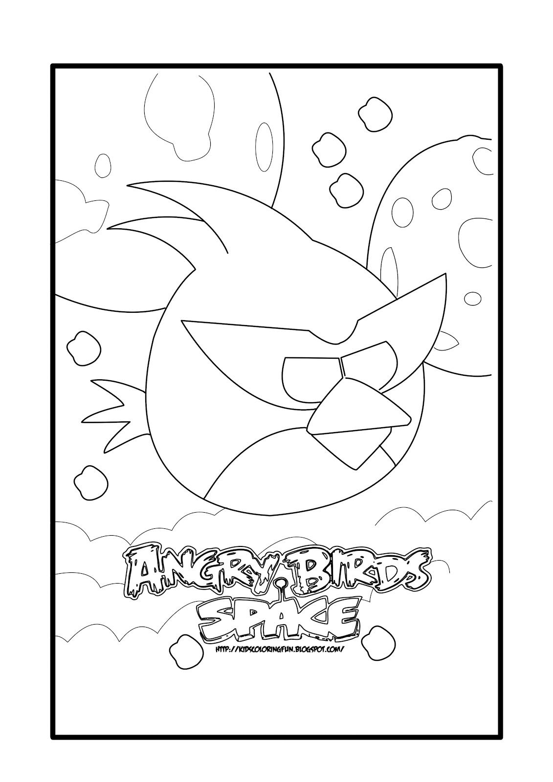 Angry Birds Space Red Bird Coloring Page