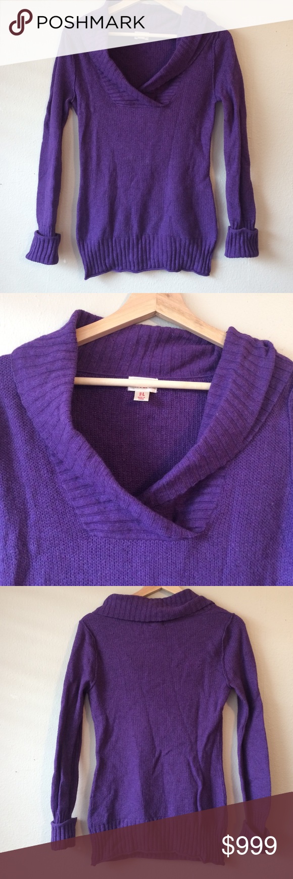 🌈4/$15 Fuzzy purple cowl neck sweater $6 each or Bundle and Save ...