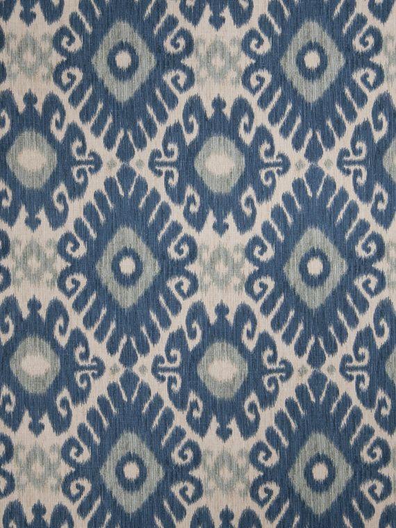 Blue Gray Ikat Upholstery Fabric By Greenlefabrics 43 00