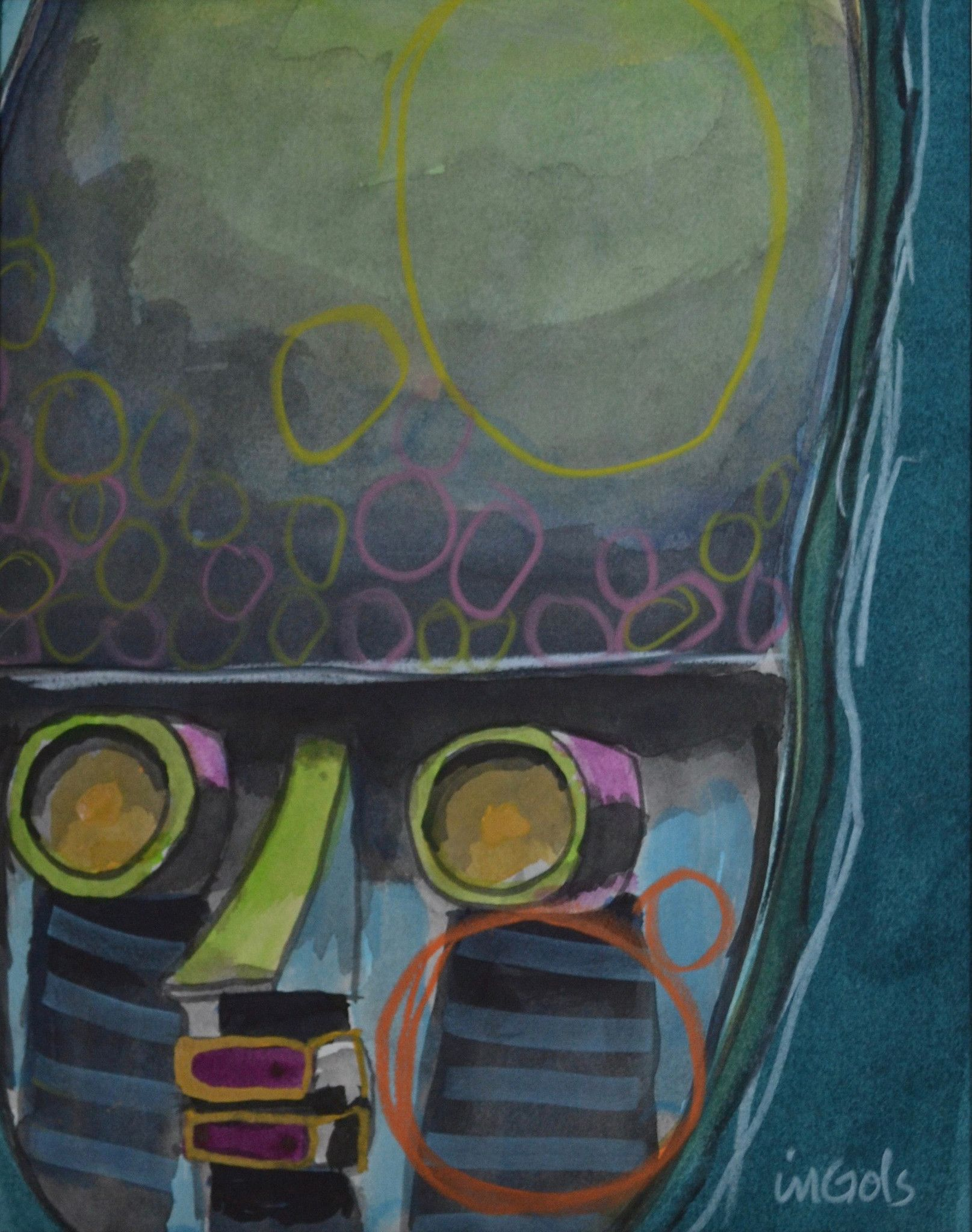 """""""Going Native III"""" by Jane Ingols.11 x 14 (matted). Acrylic, ink, and colored pencil on paper. $150"""