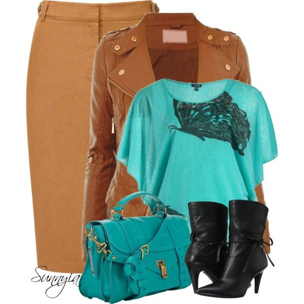 """Black, Tan and Turquoise"" by sunnyia on Polyvore"