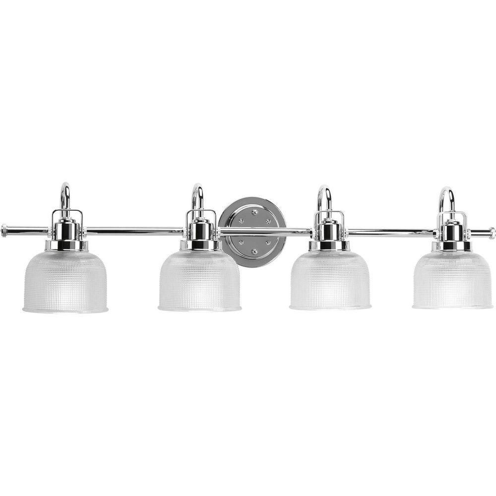 Progress Lighting Archie Collection 35 5 In 4 Light Chrome Bathroom Vanity Light With Glass Shad Bath Vanity Lighting Bathroom Vanity Lighting Vanity Lighting