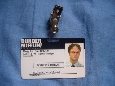 photograph relating to Dunder Mifflin Name Tag Printable named The Place of work Identity Card Dwight Schrute Badge Dunder Mifflin television set