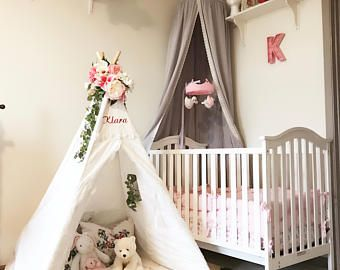Crib Canopy Kids Nursery PINK Bed Canopies