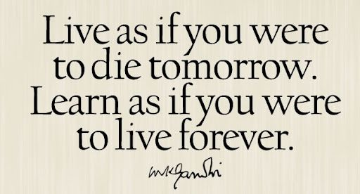 Live as if you were to die tomorrow. Learn as if you were to live forever.Mahatma Gandhi - Google Search