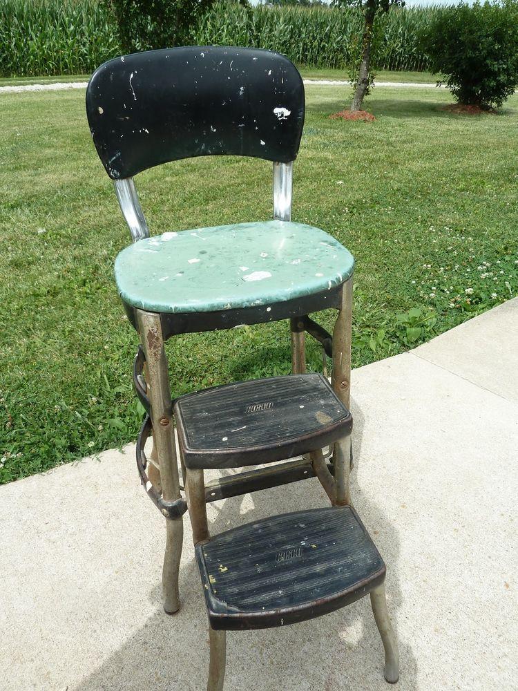 Vintage Green, Black U0026 Chrome COSCO 2 Step Kitchen Stool Chair Ladder