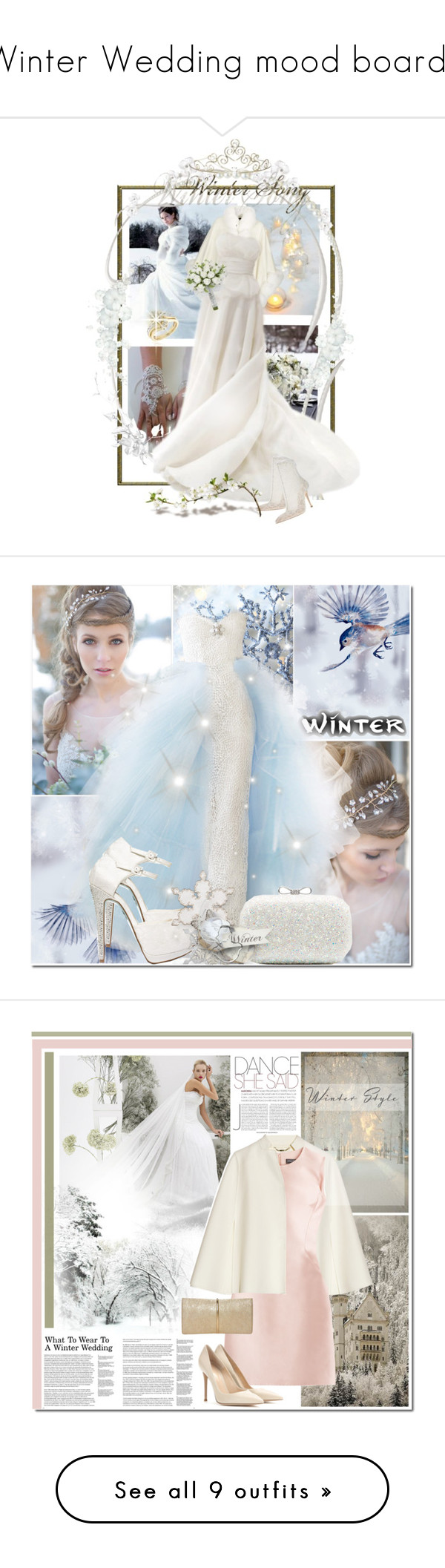 """""""Winter Wedding mood boards"""" by weddingdesignchic-com ❤ liked on Polyvore featuring Harrods, Reeds Jewelers, Oscar de la Renta, women's clothing, women, female, woman, misses, juniors and Forever New"""