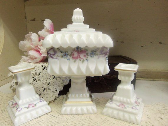 Vintage Westmoreland Milk Glass Roses and Bows Wedding Bowl and 2