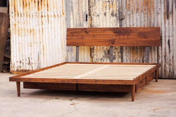 Best The Western Bed Mid Century Modern Style Platform Bed 640 x 480