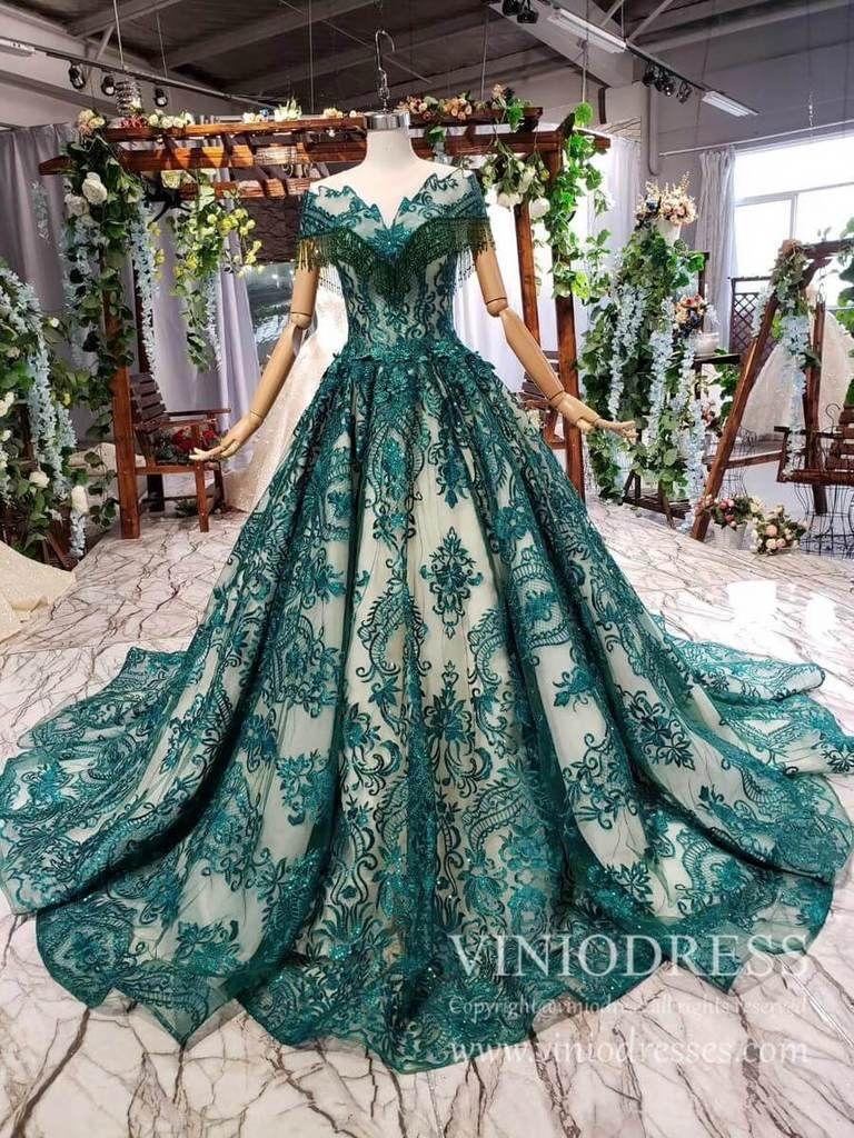 Vintage Emerald Green Lace Prom Dresses Debutante Dress With Long Train Fd1878 Bride Dress Vintage Formal Dresses For Weddings Prom Dresses Lace [ 1024 x 768 Pixel ]
