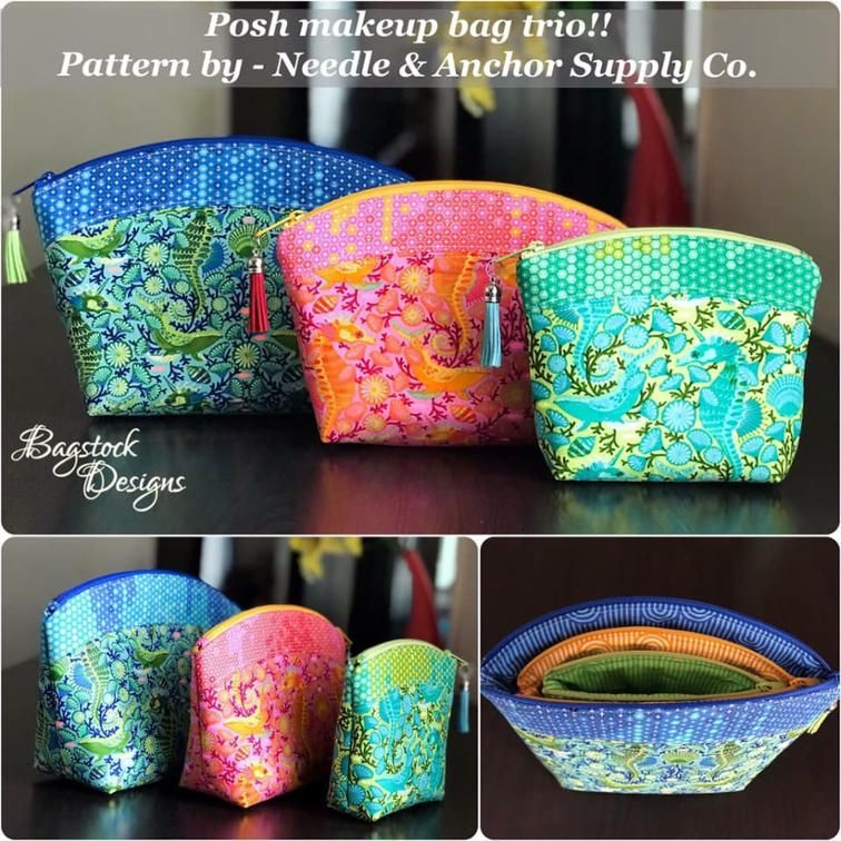 Posh Makeup Bag Trio | Craftsy | Sewing Bags, totes, purses