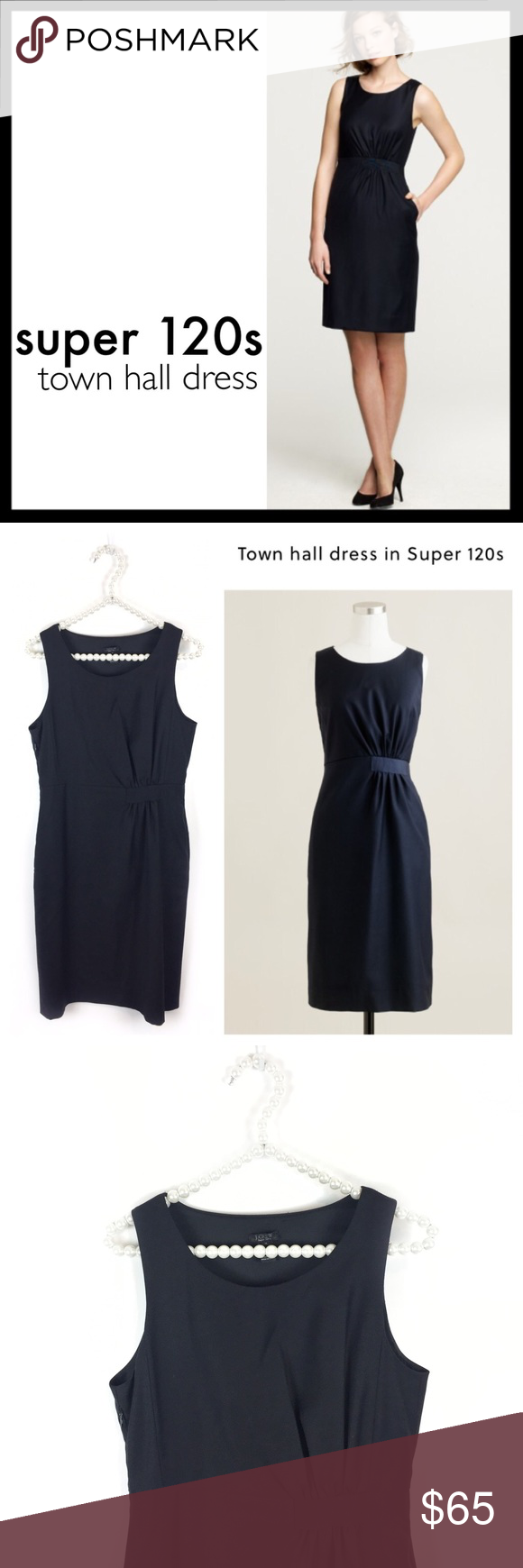 j. crew // super 120s wool town hall dress • black A flourish of grosgrain ribbon gathers halfway around the waist, adding a flattering edge to our newest desk- to-dinner dress. Beautifully styled in our four-season Super 120s wool. Lined. Excellent condition. J. Crew Dresses Midi