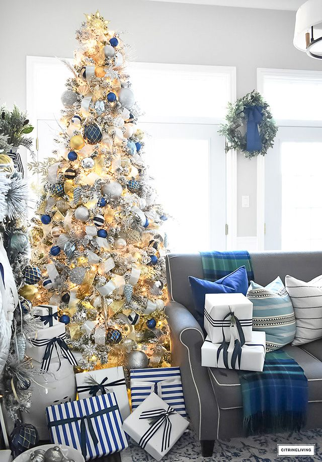 FLOCKED CHRISTMAS TREE WITH NAVY, LIGHT BLUE, SILVER AND GOLD ORNAMENTS   Blue christmas decor ...