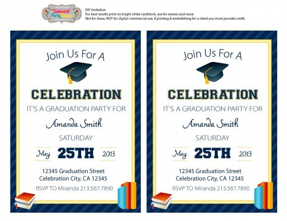 Free Graduation Party Printables From Unlimited Party Themes Graduation Party Invitations Templates Free Printable Graduation Invitations Graduation Party Invitations