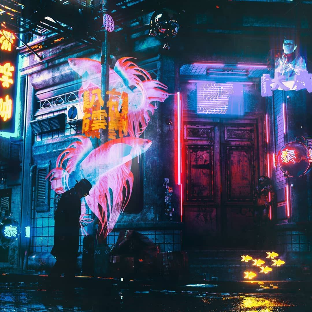 Glow Inspired In Ghost In The Shell Solograms Available For Commission Cinema4d C4d Cyberpunk City Ghost In The Shell Cyberpunk Aesthetic