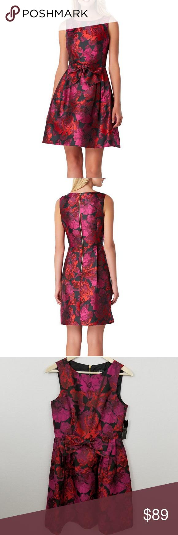 Tahari Floral Jacquard Bow Cocktail Dress Clothes Design Dresses Fashion [ 1740 x 580 Pixel ]