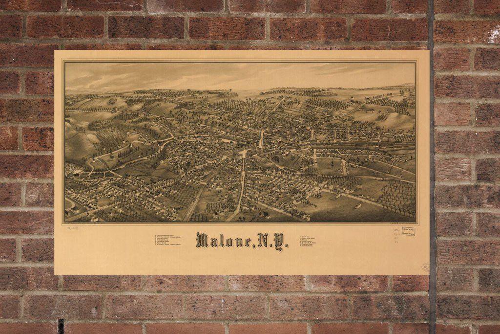 Vintage Malone Print, Aerial Malone Photo, Vintage Malone NY ...