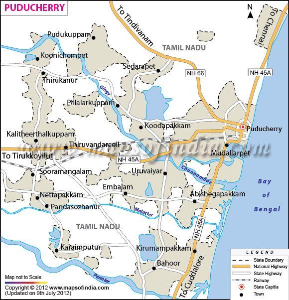 Administrative Maps Of PondicherryPuducherry India Maps - Pondicherry map