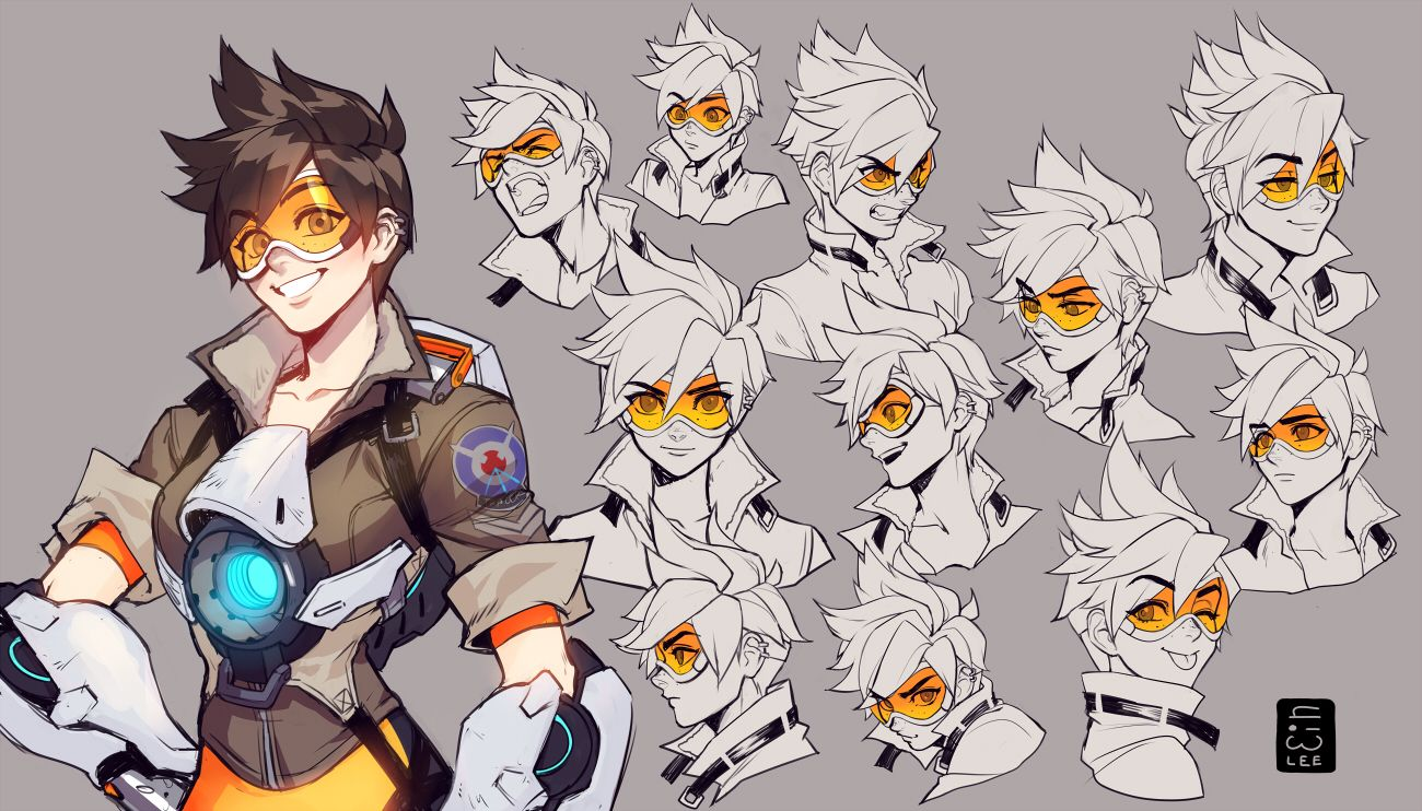 Character Design Overwatch : Illustration de ein lee overwatch tracer and