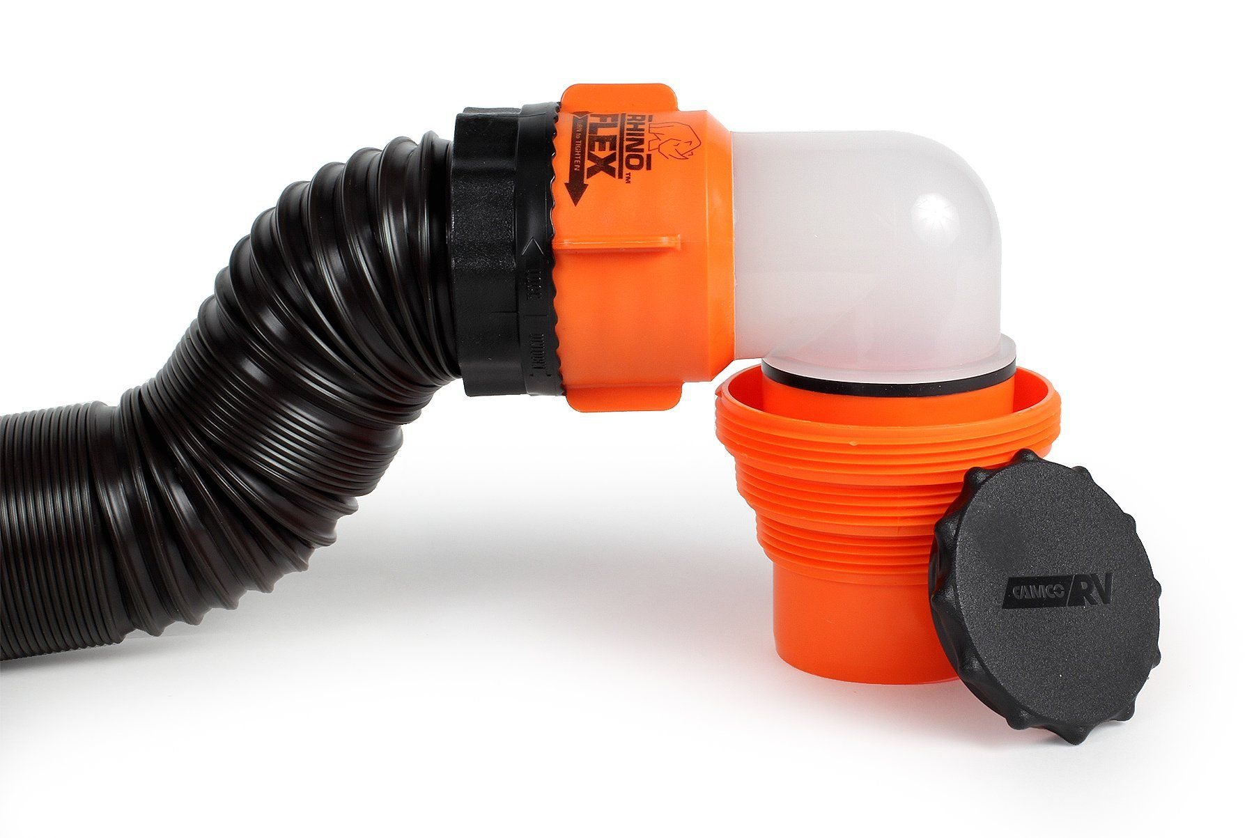 Camco Rhinoflex 20ft Rv Sewer Hose Kit Includes Swivel Fitting And Translucent Elbow With 4 In 1 Dump Station Fitting Storage Cap Camco Flex Hose Translucent