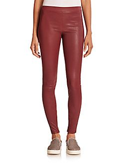 Vince - Leather Ankle-Zip Leggings