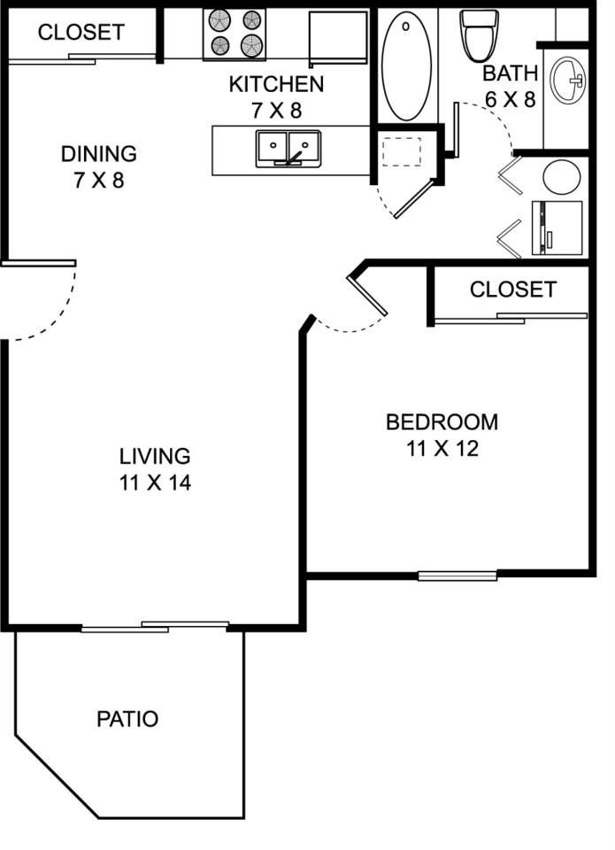 our 1 bed 1 bath spacious floor plan. 650 square feet