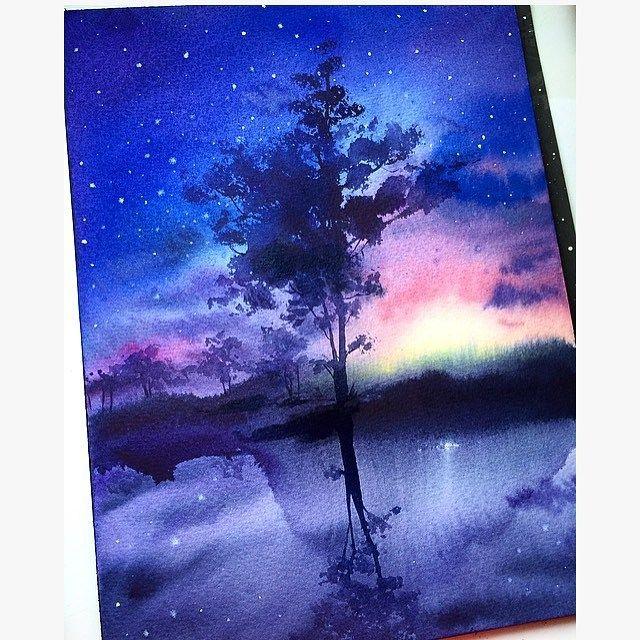 Beautiful Watercolor Painting By Dina Lepchenkova Cutpastestudio Art Artist Artistic Artwork Beautiful Color Galaxy Painting Watercolor Art Watercolor Art Diy
